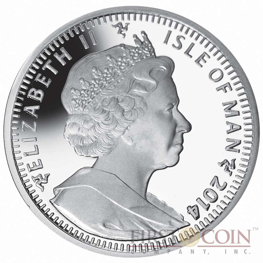 """Isle of Man - Great Britain The Luge Silver Coin """"Sochi Winter Olympics"""" Series 1 Crown Colored 2014 Proof ~1oz"""