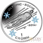 "Isle of Man - Great Britain The Luge Silver Coin ""Sochi Winter Olympics"" Series 1 Crown Colored 2014 Proof ~1oz"