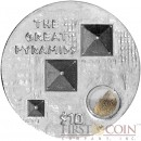 British Virgin Islands EGYPT'S GREAT PYRAMIDS 3D Ultra High Relief $10 Capsule with Sand insert Silver coin 2013 Proof 1 oz
