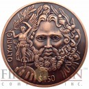 British Virgin Islands ZEUS OLYMPIC 150th Birth Anniversary of Baron de Coubertin $1.50 Copper coin Ultra High Relief 2013 Antique finish 1.5 oz