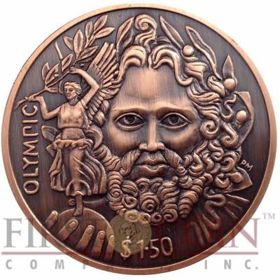 British Virgin Islands ZEUS OLYMPIC 150th Birth Anniversary of Baron de Coubertin $1.50 Copper coin Ultra High Relief 2013 Antique finish 1.5 oz