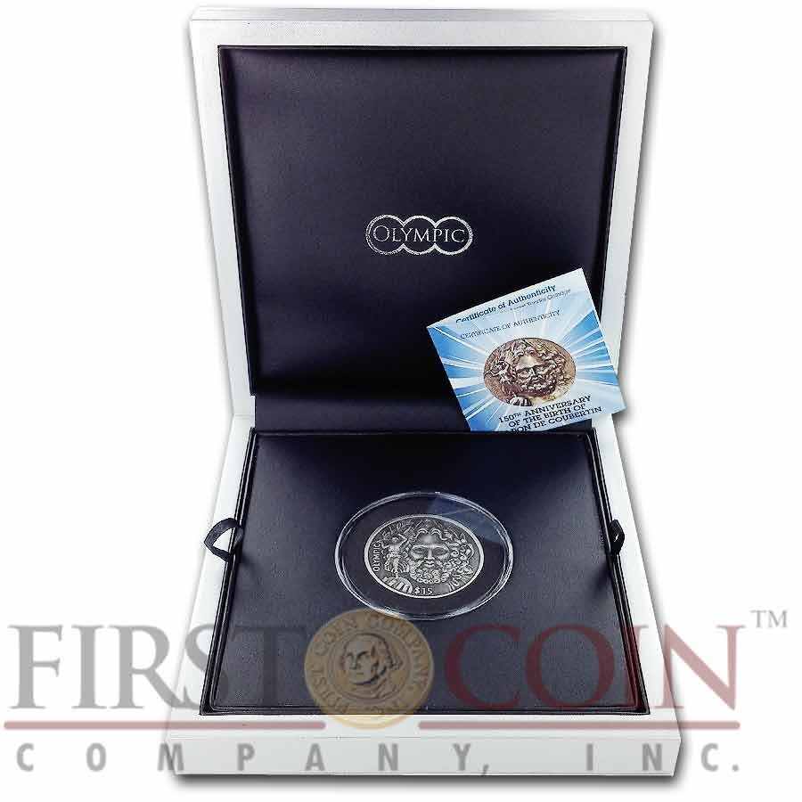 British Virgin Islands ZEUS OLYMPIC 150th Birth Anniversary of Baron de Coubertin $15 Silver coin Ultra High Relief 2013 Antique finish 1.5 oz