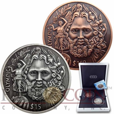 British Virgin Islands ZEUS OLYMPIC 150th Birth Anniversary of Baron de Coubertin $16.50 Two Coin Set Silver & Copper Ultra High Relief 2013 Antique finish 3 oz