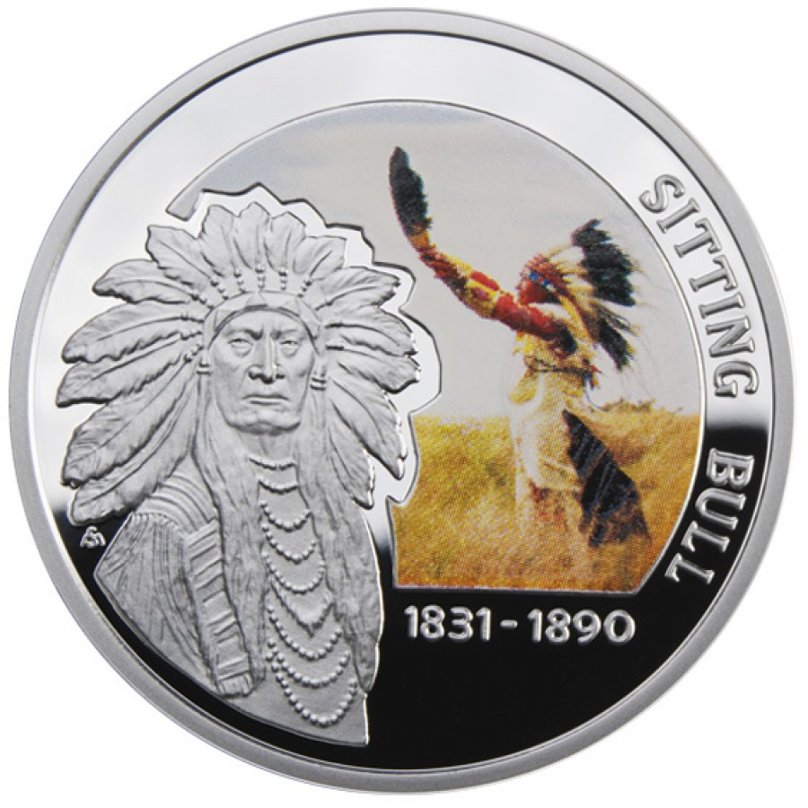 Niue Island SITTING BULL series GREAT COMMANDERS $1 Silver Coin 2010 Proof