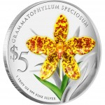 Singapore GRAMMATOPHYLLUM SPECIOSUMNATIVE $5 ORCHIDS OF SINGAPORE series Silver Coin 2011 Proof 1oz
