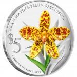 Singapore GRAMMATOPHYLLUM SPECIOSUMNATIVE $5 ORCHIDS OF SINGAPORE series Silver Coin 2011 Proof 1oz