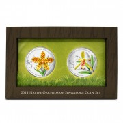 Singapore NATIVE ORCHIDS OF SINGAPORE series $10 Two Silver Coin Set 2011 Proof 2 oz