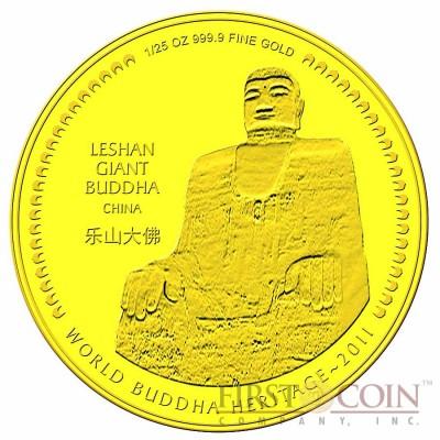 "Bhutan 1/25 oz MAHAYANA - LESHAN GIANT BUDDHA OF CHINA "" World Buddha Heritage"" Series  2011 Gold Coin Proof"