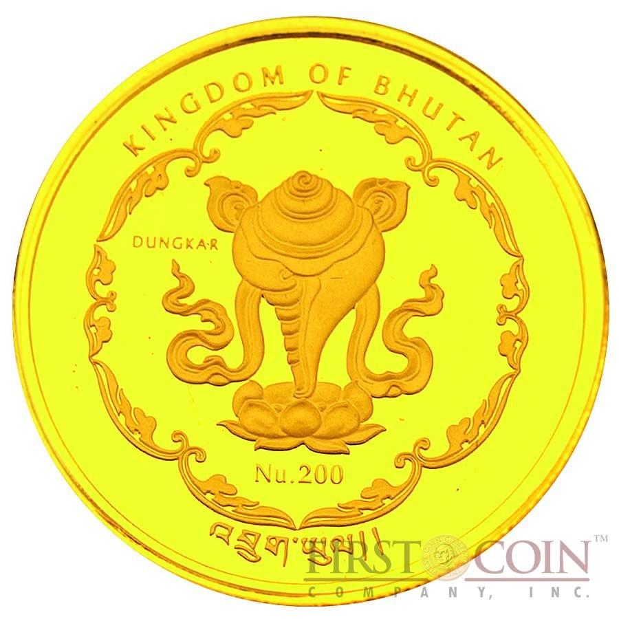"Bhutan 1/25 oz THERAVADA –  FOUR FACE BUDDHA OF CAMBODIA "" World Buddha Heritage"" Series  2010 Gold Coin Proof"