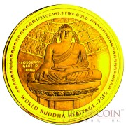 "Bhutan 1/25 oz MAHAYANA - SEOKGURAM GROTTO OF KOREA "" World Buddha Heritage"" Series  2010 Gold Coin Proof"