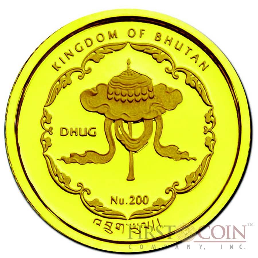 "Bhutan 1/25 oz THERAVADA – WAT PHO OF THAILAND "" World Buddha Heritage"" Series  2011 Gold Coin Proof"