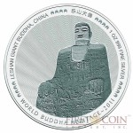 "Bhutan 1 oz MAHAYANA - LESHAN GIANT BUDDHA OF CHINA "" World Buddha Heritage"" Series  2011 Silver Coin Proof"