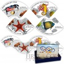 Cambodia MARINE LIFE 12000 Riels Puzzle Four Colored Silver coin set Wave shape 2014 Proof 2 oz