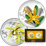 Singapore NATIVE ORCHIDS OF SINGAPORE series $10 Two Colored Silver coin set 2014 Proof 2 oz