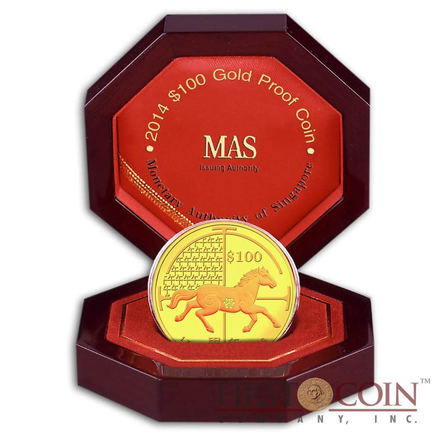 Singapore Year of the Horse 2014 Lunar Series $100 Gold Coin Proof 1 oz