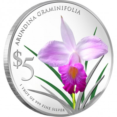 Singapore ARUNDINA GRAMINIFOLIA $5 NATIVE ORCHIDS OF SINGAPORE series Silver Coin 2012 Proof 1 oz