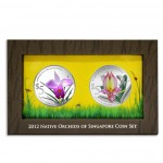 Singapore NATIVE ORCHIDS OF SINGAPORE series $10 Two Silver Coin Set 2012 Proof 2 oz