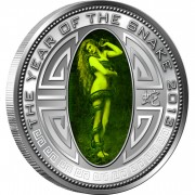 North Korea DPRK Lilith lunar Year of the Snake Hologram 5 Won Silver Coin 2013