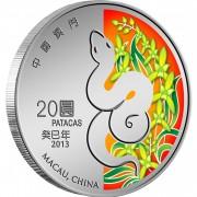 Macau YEAR OF THE SNAKE - LUNAR CALENDAR 20 Patacas Silver Coin 2013 Proof 1 oz