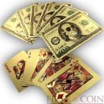 $100 FRANKLIN GOLDEN POKER PLAYING 52 CARDS 2 JOKERS LAS VEGAS Waterproof Durable plastic