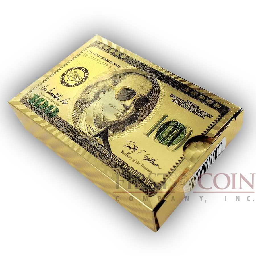 $100 FRANKLIN GOLDEN POKER PLAYING 52 CARDS 2 JOKERS LAS