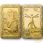 Leonardo Da Vinci MONA LISA LA GIOCONDA and VITRUVIAN MAN Golden plating Coin-bar High relief 1 oz