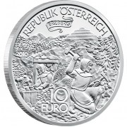 "Silver Coin THE DISCOVERY OF THE ERZBERG (IRON MOUNTAIIN) 2010 ""Tales and Legends of Austria"" Series"