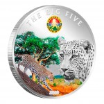 "Copper Silver Plated Colored Coin THE LEOPARD 2010 ""The Big Five"" Series, Ivory Coast"