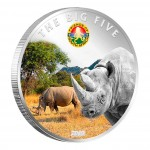 "Copper Silver Plated Colored Coin THE RHINOCEROS 2010 ""The Big Five"" Series, Ivory Coast"