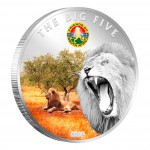 "Copper Silver Plated Colored Coin THE LION 2010 ""The Big Five"" Series, Ivory Coast"