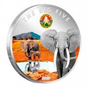 "Copper Silver Plated Colored Coin THE ELEPHANT 2010 ""The Big Five"" Series, Ivory Coast"