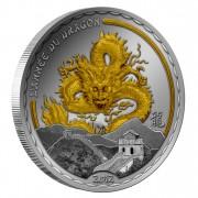 """Silver Gilded Coin GOLDEN DRAGON 2012 """"Lunar"""", Cameroon"""