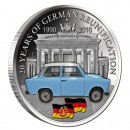 "Copper Silver Plated Colored Coin BRANDENBURG GATE - Trabant car 2010 ""20 Years German Reunification"" Series, Malawi"