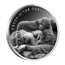 Silver Coin CROSS - RIVER GORILLA ( WITH A BABY ) 2013, Cameroon - 1 oz