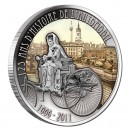"Copper Silver Plated Colored Coin BERTHA BENZ WITH CAR - BERLIN 2011 ""125 Years of Invention of Automobile"" Series, Cameroon"