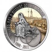 Серебряная цветная монета БЕРТА БЕНЦ С АВТОМОБИЛЕМ 2011 серии «125 Лет Изобретения Автомобиля», Камерун