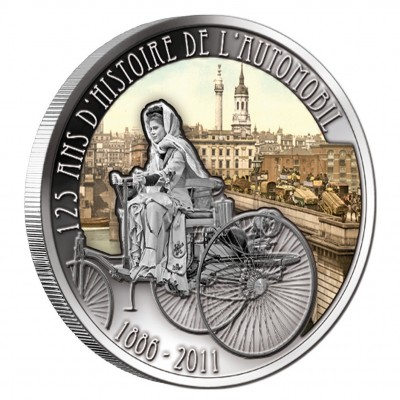 """Silver Colored Coin BERTHA BENZ WITH CAR - BERLIN 2011 """"125 Years of Invention of Automobile"""" Series, Cameroon"""