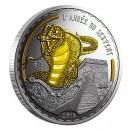 "Silver Gilded Coin GOLDEN SNAKE 2013 ""Lunar"", Cameroon"