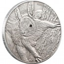 Silver Coin RED SQUIRREL 2012, Swarovski Elem, Palau - 1 oz, Antique Finish