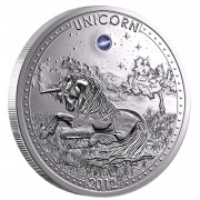 Silver Coin UNICORN 2012 with Gemstone - opal, Cameroon