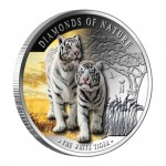 "Silver Colored Coin THE WHITE TIGER ""Diamonds of Nature"" Series 2012, Fiji"
