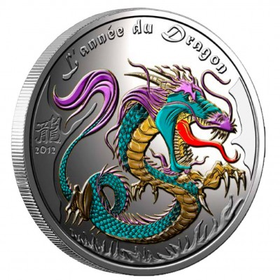 "Silver Colored Coin YEAR OF THE DRAGON 2012 ""Lunar"", Benin - 1oz"