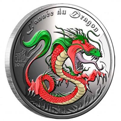 "Silver Colored Coin YEAR OF THE DRAGON 2012 ""Lunar"", Benin - 1/2 oz"