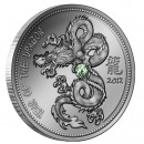 "Silver Coin YEAR OF THE DRAGON 2012 ""Lunar"" Series with Gemstone, Cameroon - 1oz"