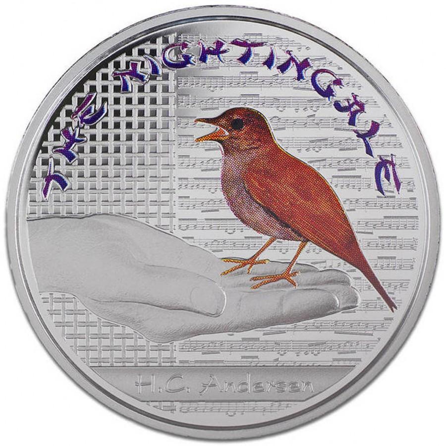 Серебряная монетка с картинками андерсен