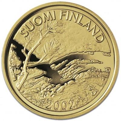 Золотая монета ПЕРВЫЙ ФИНСКИЙ ЗОЛОТОЙ ЕВРО 2002