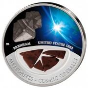 Серебряная монета МЕТЕОРИТЫ - КОСМИЧЕСКИЕ ЖЕЛЕЗОКАМЕННЫЕ ШАРЫ - США 1882 БРЕНХАМ 2012, Фиджи