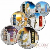 Fiji Egypt Jewels Six Coin Set $300 Silver 12 oz Palladium plated 3D stone 2012 - 2013