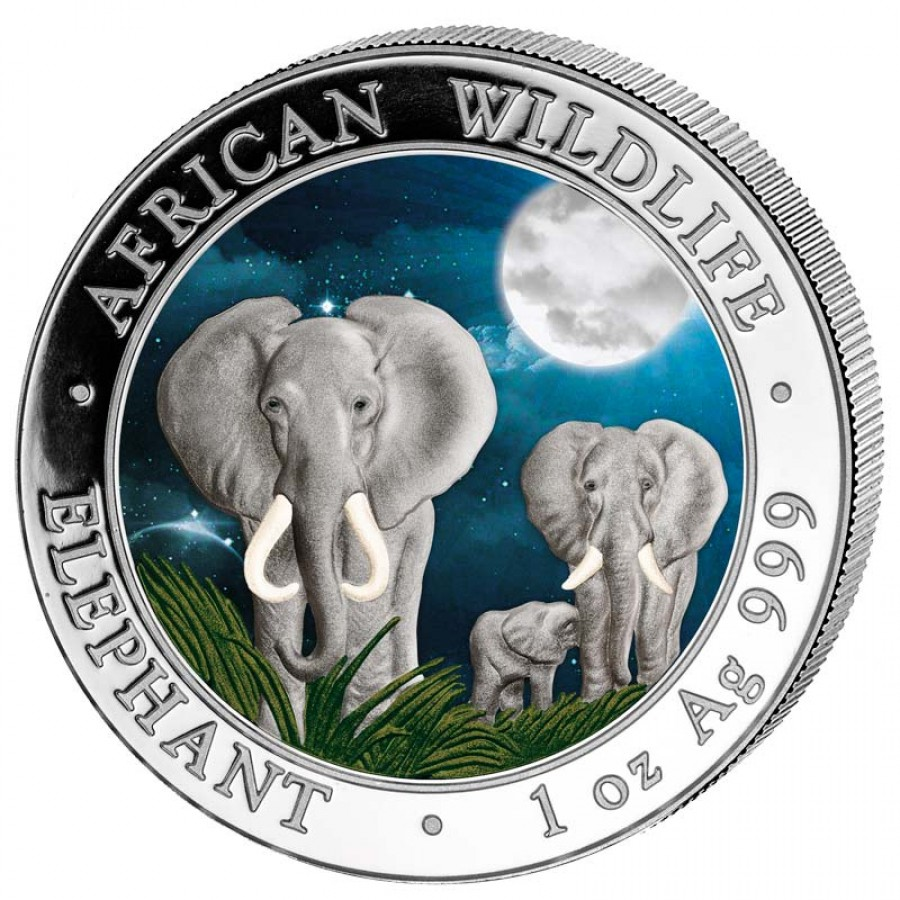 Somalia Elephant African Wildlife Series Silver Coin 2014