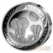 Somalian Elephant Ultra High Relief Silver Coin 1 oz African Wildlife 2014